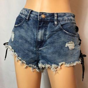 Denim Lace Up Shorts
